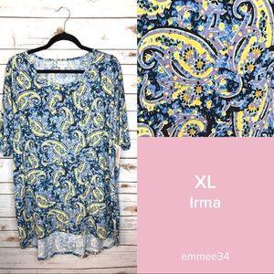 Lularoe Irma Tunic Top Shirt NWT XL Blue Paisley